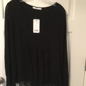 MANGO Sheer Shirt from Europe in Black